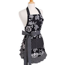 Womens Apron Kitchen Cooking Home Baking Cleaning Gardening Cotton Ties Black