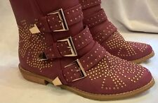 Dolcis Ellie Stud Embellished Ankle Boots Dark Red flat heel UK 4 EUR 37