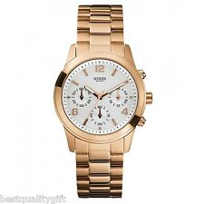 NEW-GUESS ROSE GOLD TONE S/STEEL+SILVER TONE DIAL+CHRONOGRAPH WATCH U13578L5+TAG