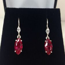 BEAUTIFUL 4ct Ruby & White Sapphire Sterling Accent Round Stud Earrings NWT