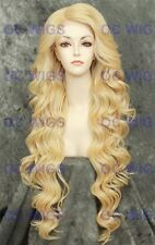 Light Blonde Curly Extra Long Lace Front Heat OK Synthetic Wig PRIMROSE in 613