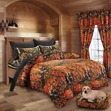 7 PC ORANGE CAMO COMFORTER AND BLACK SHEET SET QUEEN BED IN BAG CAMOUFLAGE WOODS