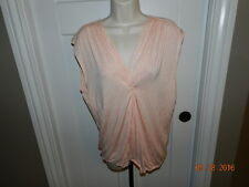 Studio M Peach Stretchy Short Sleeve Top Blouses Women Size L