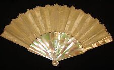 EDWARDIAN BRUSSELS LACE FAN, MULTI-COLORED MOP GUARDS, STICKS