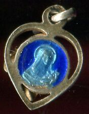 ANTIQUE TINY BLUE ENAMEL HEART MEDAL OF ST THERESE OF CHILDREN JESUS