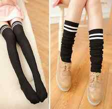 Fashion Women Knit Cotton Over The Knee Long Sock Striped Thigh High Stocking UK