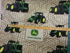 JOHN DEERE fabric TOPOGRAPHIC MAP TRACTOR FLANNEL FABRIC LOGOS CP59373 BTY NEW
