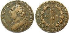 LOUIS XVI 12 DENIERS 1792 A L'AN 4/3 G.15 MDC