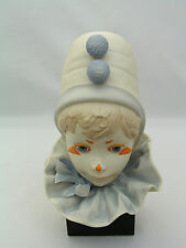 CYBIS CIRCUS CLOWN BOY BUST FIGURINE ON BASE - BISQUE PORCELAIN - SIGNED