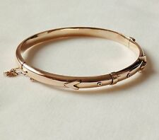 Fine Antique Victorian 9ct Rose Gold 'Belt & Buckle' Motif Hinged Bangle c1885
