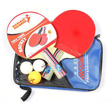 New Table Tennis Ping Pong Set 2 Bats Racket 3 Balls Paddle 1 Blue Racket Pouch