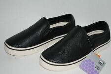 NEW NWT CROCS HOVER SLIP ON LEATHER BLACK 10 men / 12 women boat shoes loafers