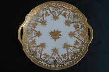 Hand Painted Nippon Gold Encrusted Floral Scrollwork Cake Plate C. 1891 - 1911