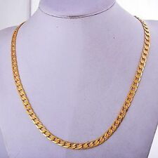 classic vintage Mens Yellow Gold Filled cuban link chain long Necklace