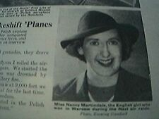 magazine item 1939 - ww2 world war two nancy martindale escapes from warsaw