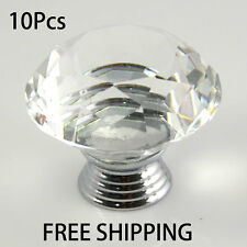 10Pcs 40mm Crystal Glass Door Knobs Drawer Cabinet Kitchen Pull Handles Lots G