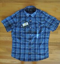 NWT Mens G. H. BASS & CO. Navy Blue Plaid Cotton S/S Shirt Size LARGE