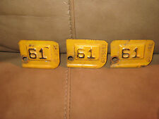 3 1961 Metal License Plate Year Stamps with consecutive numbers