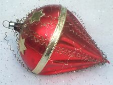VINTAGE WIRE WRAP BALLOON TOP MERCURY GLASS WEST CHRISTMAS ORNAMENT