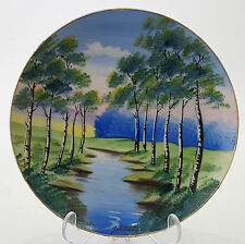 """HANDPAINTED LANDSCAPE PLATE SIGNED G. HITOMI MID CENTURY JAPAN BY WHEELOCK  8"""""""