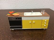 Vintage TOMY Dollhouse Kitchen Sink Unit w/ Dishwasher Dishes