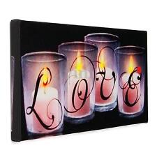 Love By Candle Canvas Luminous Painting LED Lighted Picture Wall Art Home Decor