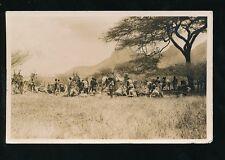 East Africa Kenya CAMEL TRAIN camp/halt in bush c1920/30s? RP PPC used Nairobi