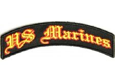 SMALL US MARINES EMBROIDERED IRON ON ROCKER BIKER PATCH
