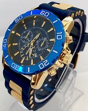 Mens Wrist Watch Luxury Gold Blue Silicone Strap Spots Best Classic Designer New