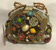 Y&S PREZZO HANDBAG Clutch  Highly Embellished Purse Beaded Reptile 2 Handles NWT