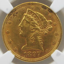 1897 Liberty $5 Gold Half Eagle AU58 NGC - Beautiful & Fully Lustrous!