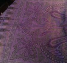 Adrienne Vittadini scarf shawl wrap Paisley Violet purple Gray Wool & Silk Blend