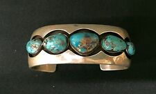 Cuff Bracelet * Native American Indian *Dead Pawn* Sterling & Turquoise -Bisbee?