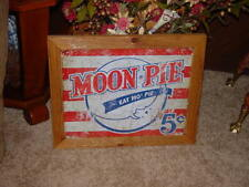 AMERICAN MOON PIE CUSTOM SOLID CEDAR FRAMED RETRO METAL WEATHERED SIGN