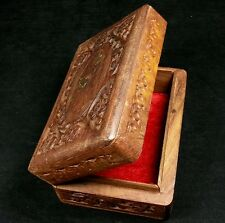 Red Velvet Lined Hand Carved Jewelry Trinket Box - Solid Wood & Brass Hinged VTG