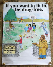 Very Rare McGruff's Park 1989 Take a Bite Out of Crime Vintage Anti Drug Poster