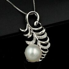 Freshwater Pearl CZ Crystal Sterling Silver Feather Pendant Chain Necklace 03503