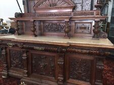Victorian Built-In Buffet Decorative Sideboard Carved Wood Old Antique