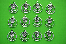 10 Small Antique SILVER Metal FLOWER CIRCLE Charms 21mm x 18mm chs1083