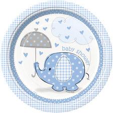 UMBRELLAPHANTS Blue Boy Baby Shower 8 PAPER PLATES - 23cm (Party/Decoration)
