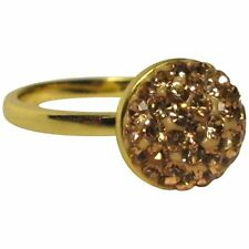 Peach Shamballa Inspired Pave Crystals Yellow Gold-Tone Sterling Silver Ring (6)
