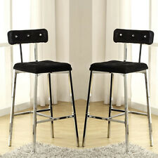 "Set of 2 Nara Modern Accent 29""H Bar Chairs Stools Black Velvet and Chrome Legs"
