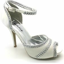 LADIES WOMENS WEDDING EVENING PROM HIGH HEEL PLATFORM BRIDAL SANDALS SHOES UK S4