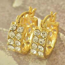 Crystal Crystal Womens  jewelry Yellow Gold Filled girls small Hoop Earrings