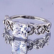 Elegant Womens White Gold Filled  Clear Square Cubic Zirconia Ring  Size 5#D7346