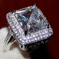 Size 7 Handmade Womens 925 Silver Huge White Topaz CZ Pave Set Wedding Band Ring
