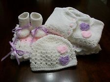 NEW Handmade Crochet Baby Blanket Afghan set ( white pink purple ) Newborn