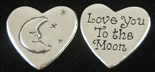 Heart Shaped Love You to the Moon Inspiration Coin Pocket Token - set of 2