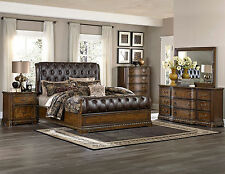APOLLO - 5pcs Old World Brown Queen King Tufted Bonded Leather Panel Bedroom Set