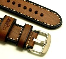 24mm Vintage Brown Wood Grain Leather Watch Strap Stainless Brushed Buckle